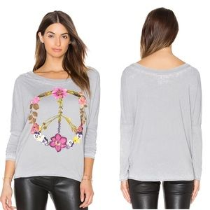 Chaser Wildflower Peace Sign Long Sleeve T-shirt S